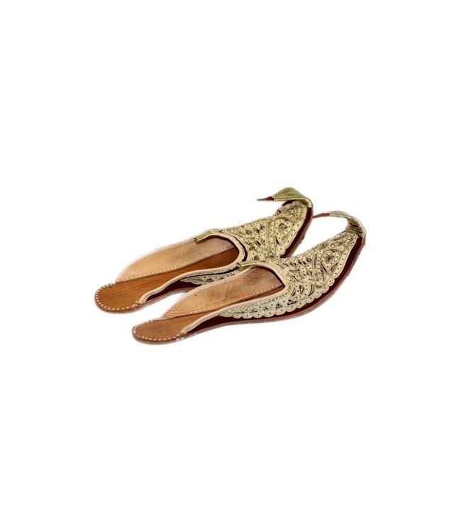 Indische Schnabelschuhe - Offene Khussa Schuhe  in Gold Rot