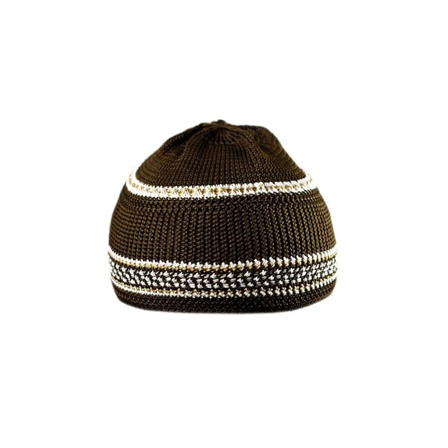 Brown-White crocheted cap / one size