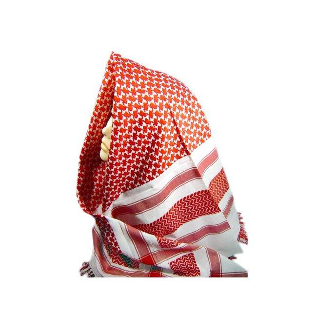 Großes Tuch in Rot-Weiß mit Fransen 125cmx120cm
