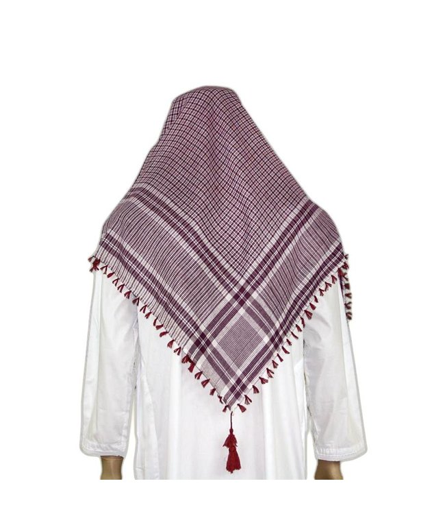 Large Scarf - Shemagh White-Red 120x115cm