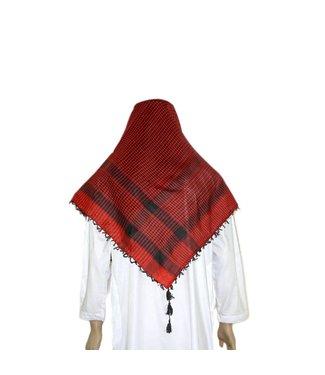 Großes Tuch - Shemagh Rot-Schwarz 120x115cm