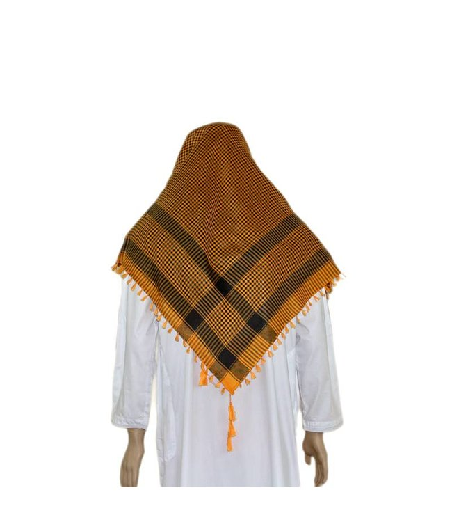 Large Scarf - Shemagh in Orange-Black 120x115cm