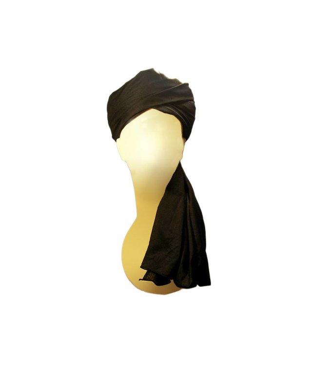 Turban-Tuch Imama in Schwarz zum Binden aus reiner Baumwolle