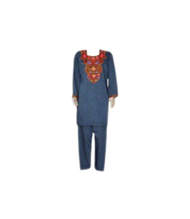 Salwar Kameez - Spiegeldesign Blaugrau