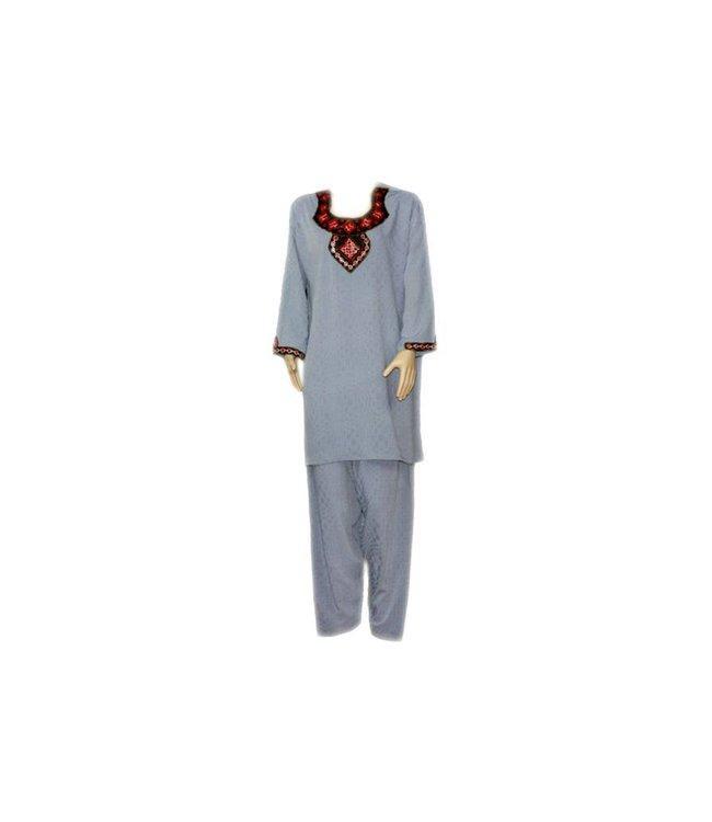 Salwar Kameez - Mirror Design Blue Grey