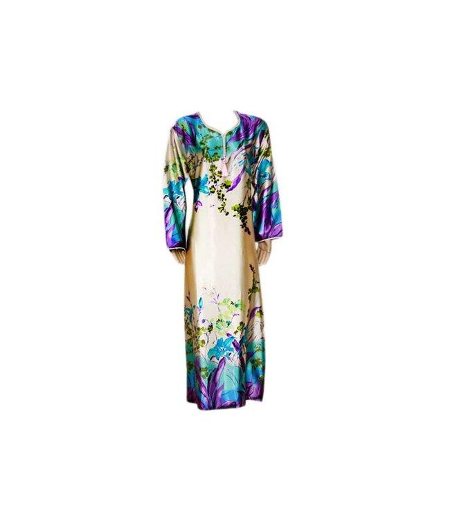 Djellaba Kaftan for Women in Turquoise Violet