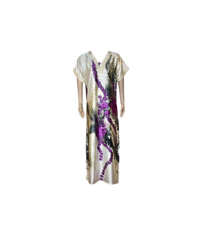 Satin Kaftan Purple - Short Sleeve