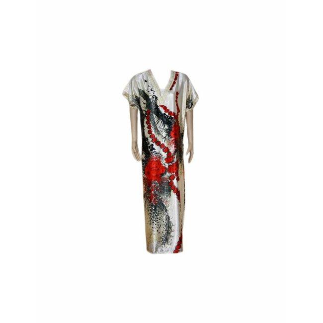 Satin Kaftan Red - Short Sleeve