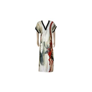 Satin Kaftan Red - Short Sleeve