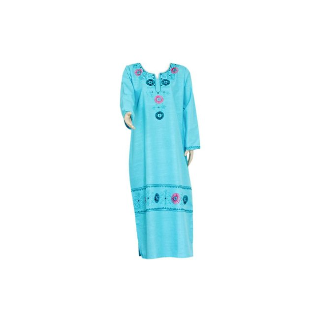 Light blue jilbab caftan with embroidery