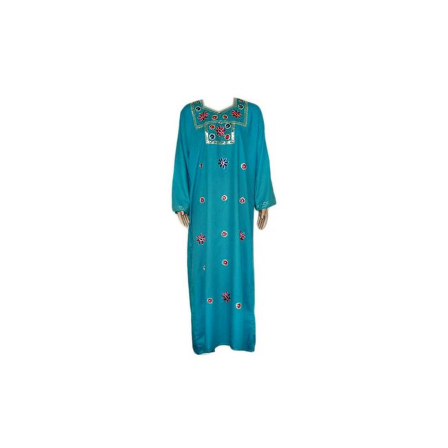Turquoise Jilbab kaftan with embroidery