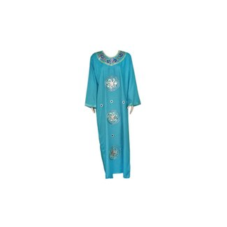 Turquoise Blue Jilbab kaftan with embroidery