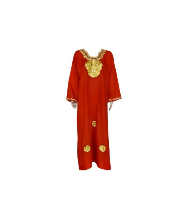 Djellaba Kaftan for Women in red with golden embroidery