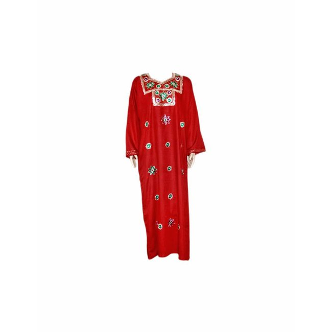 Dark red jilbab caftan with embroidery