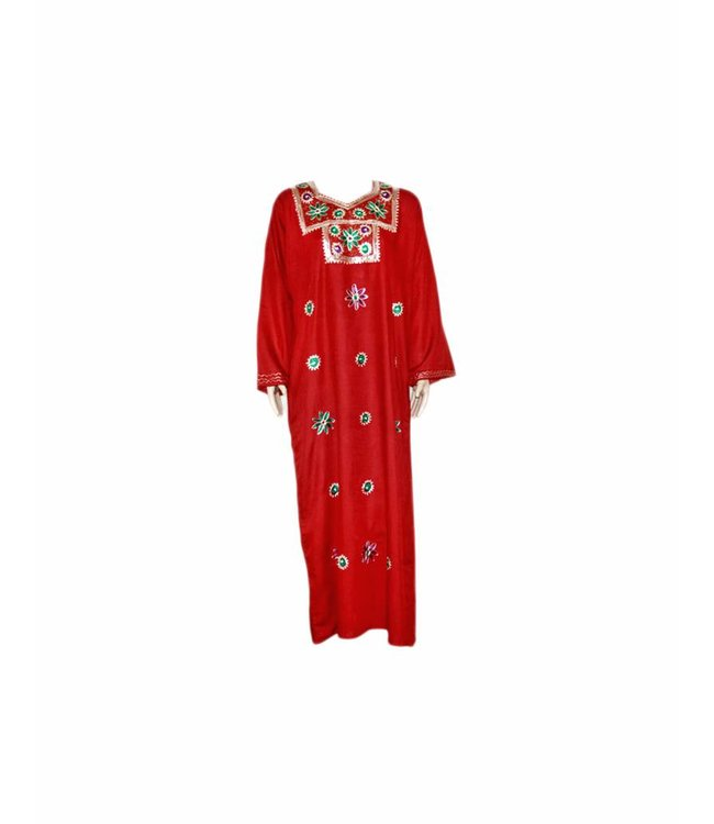 Djellaba kaftan for ladies in dark red with sequins embroidery