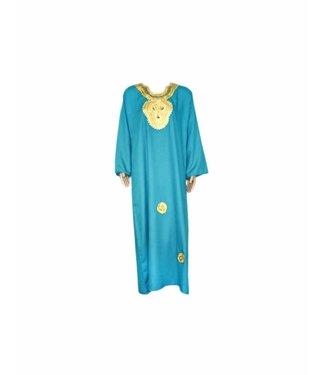 Turquoise Jilbab kaftan with gold embroidery