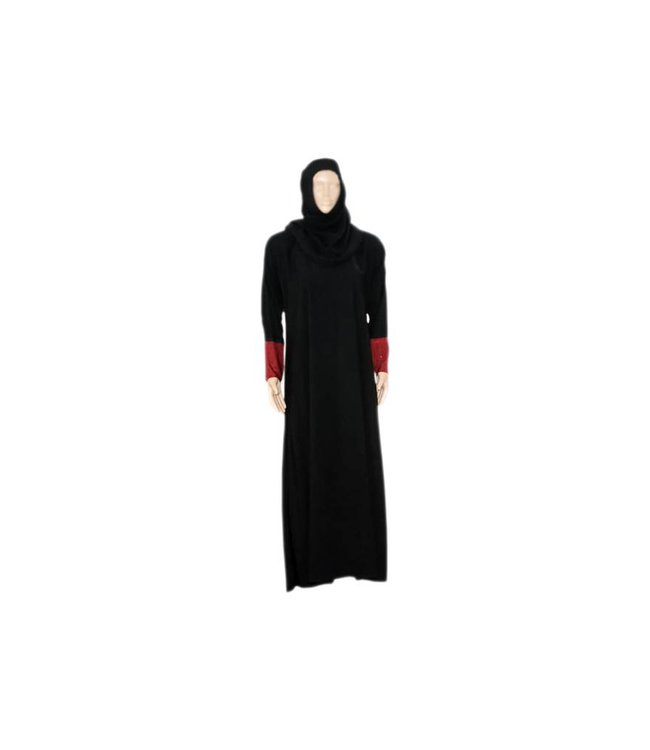 Abayah Coat Black-red with scarf