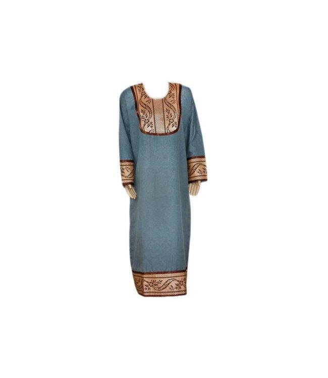 Jilbab Kaftan für Damen mit Applikationen - Grau