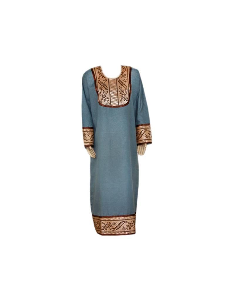 Grauer Jilbab Kaftan mit Applikation Arabisches Djellaba Kleid für Frauen