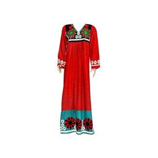 Besticktes arabisches Kaftan Kleid in Rot