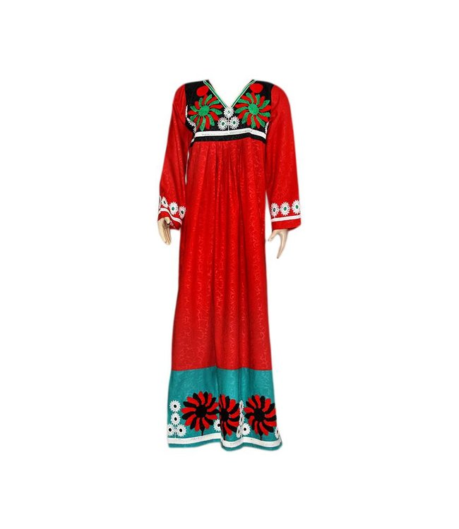 Arab Jilbab Caftan in Red with colorful embroidery