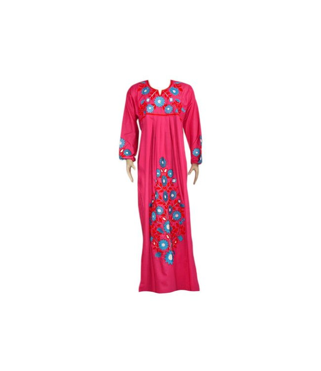 Arab Jilbab Caftan in Pink with Embroidery