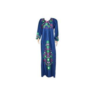 Besticktes arabisches  Kaftan Kleid in Indigoblau