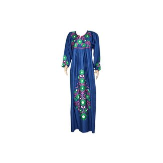 Embroidered Arab Caftan Dress in Indigo Blue