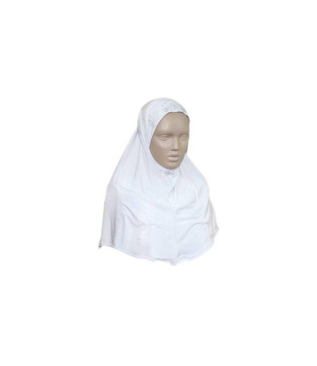 Amira hijab headscarf with rhinestones - White