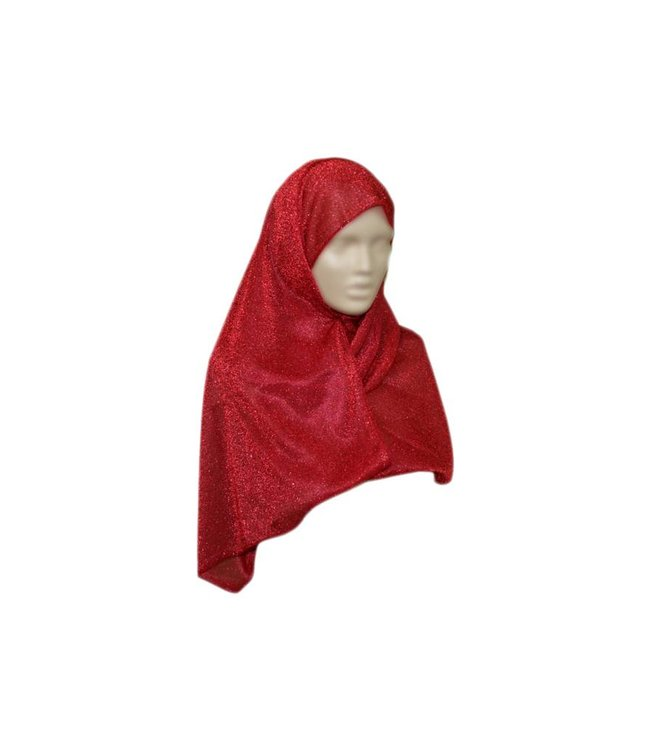 Elegant scarf for ladies with glitter effect in red