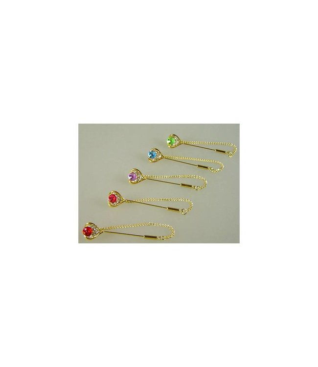 Kopftuchnadel mit Strass - Herz - Wählbar in verschiedenen Farben