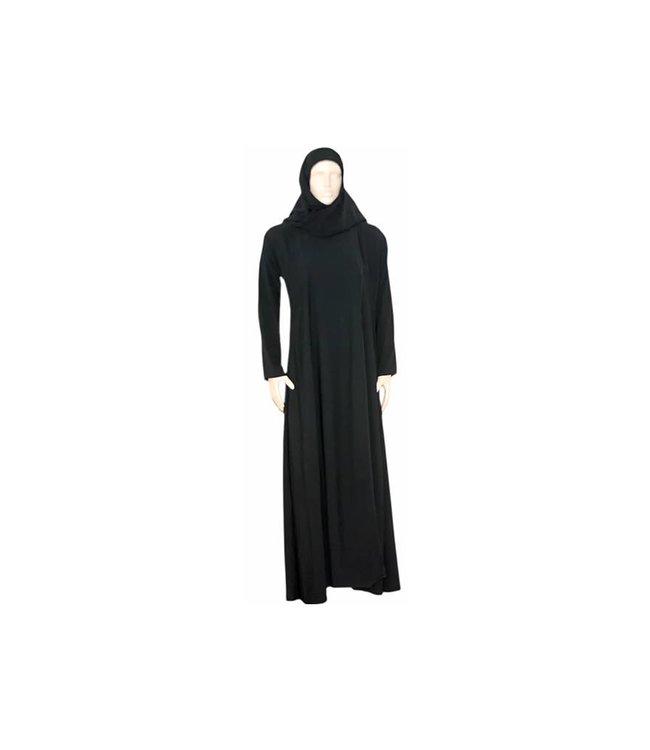 Black Abaya coat with scarf and elastic sleeves