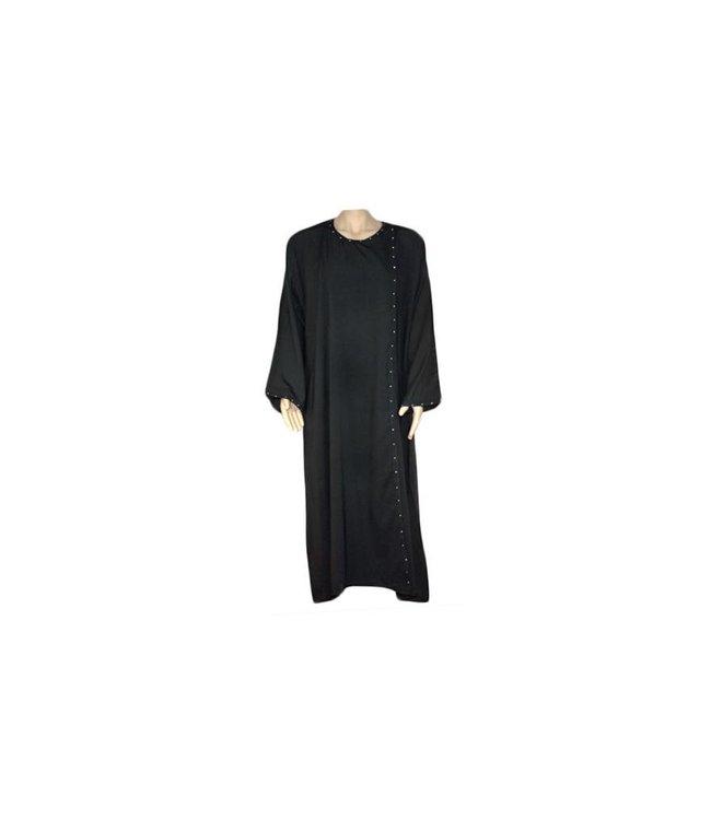 Schwarze Abaya mit Strass im Saudi-Stil