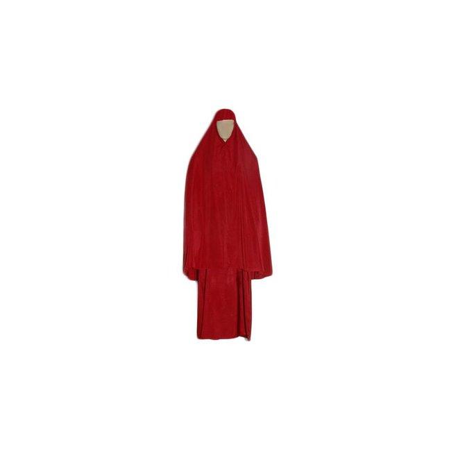 Abayah Mantel mit Khimar in Rot - Dreiteilig