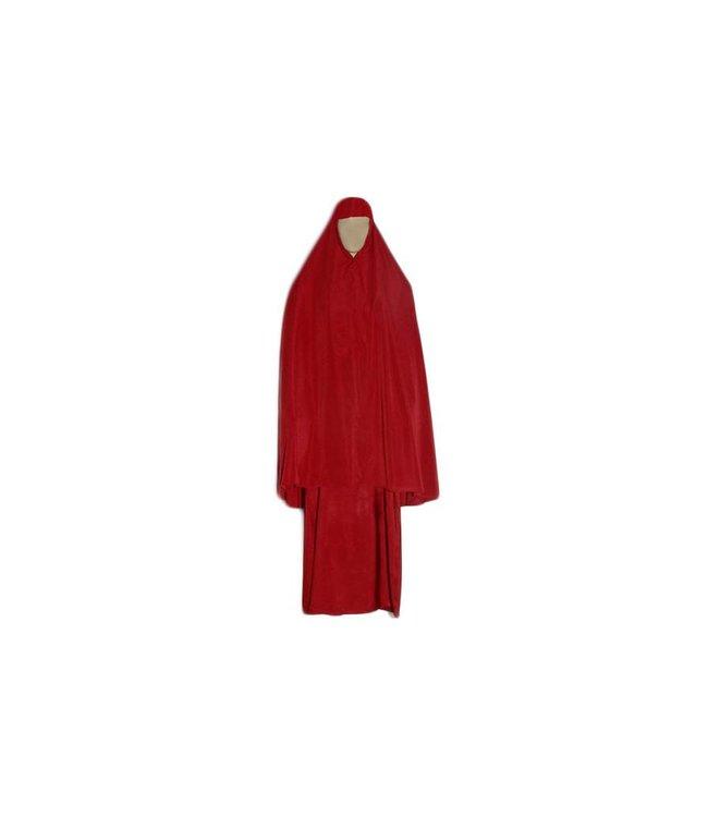 Abayah Mantel mit Khimar in Rot - Dreiteiliges Set