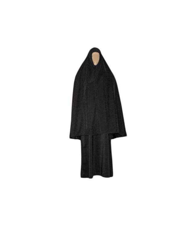 Abayah Mantel mit Khimar - Warmes Set in Schwarz