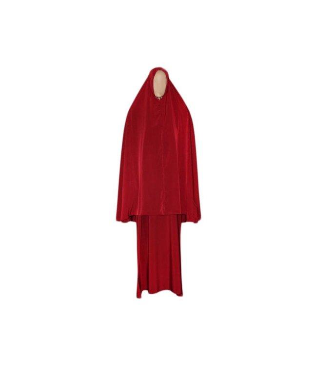 Abayah Mantel mit Khimar - Warmes Set in Rot