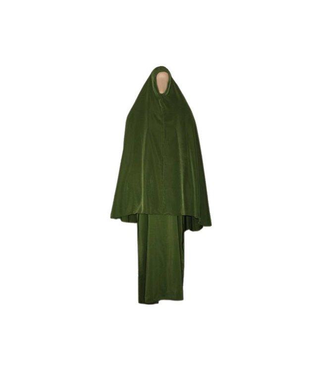 Abaya coat with khimar - Warm Set in Green