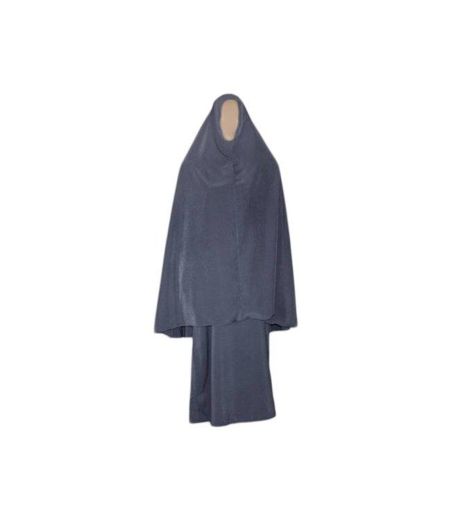 Abaya Mantel mit Khimar - Warmes Set in Grau