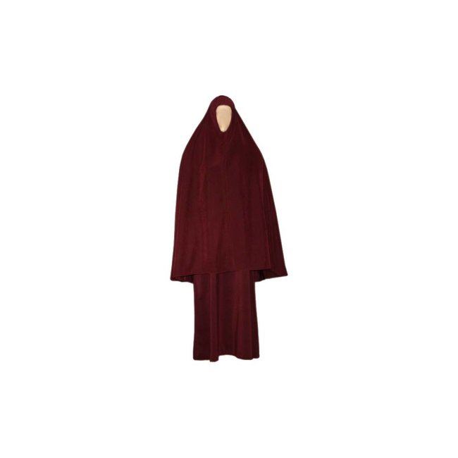 Abaya coat with khimar - Warm Set in Dark Red