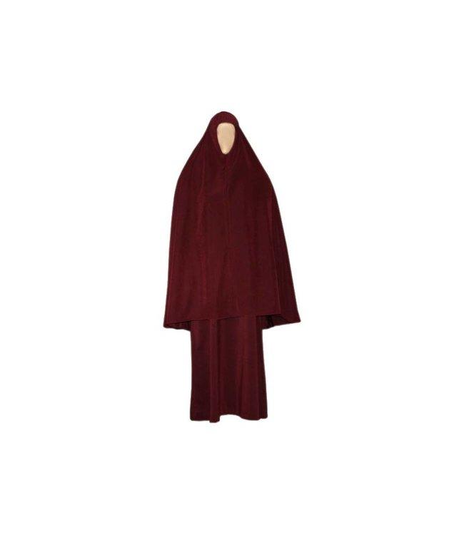 Abaya coat with khimar - Warm Set in Dark Red