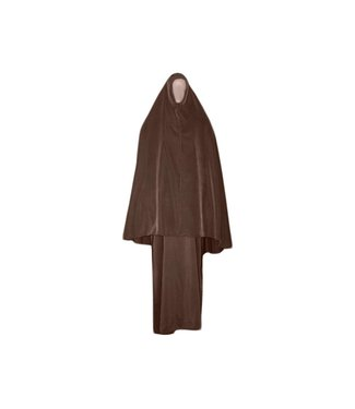 Abaya Mantel mit Khimar - Warmes Set in Braun