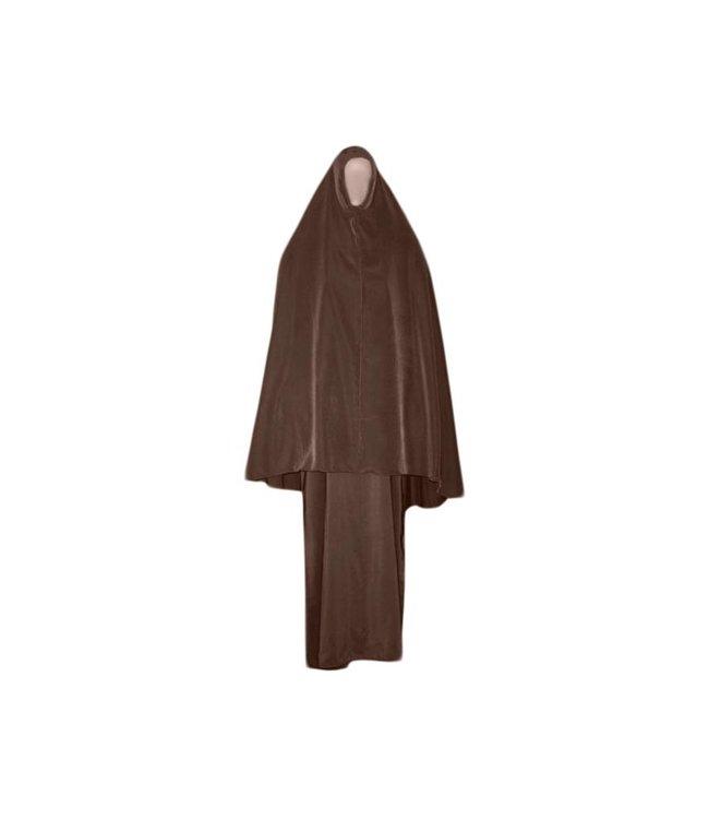 Abaya coat with khimar - Warm Set in Brown
