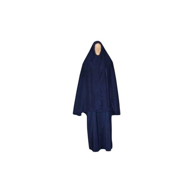 Abaya Mantel mit Khimar - Warmes Set in Blau