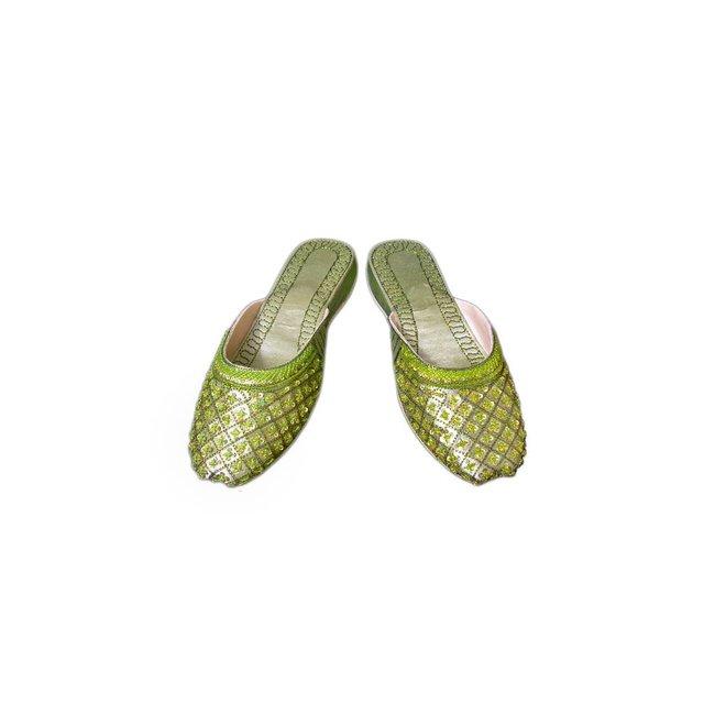 Orientalische, indische Pantoletten Schuhe Leder - Zartgrün