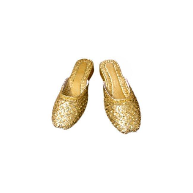 Orientalische, indische Pantoletten Schuhe Leder - Gold