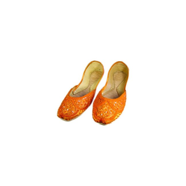 Sequins Ballerina Leather Shoes - Orange