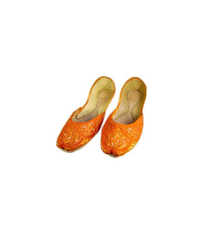 Orientalische, Indische Pailletten Ballerinas Schuhe aus Leder - Orange