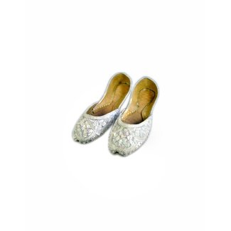 Sequins Ballerina Leather Shoes - White