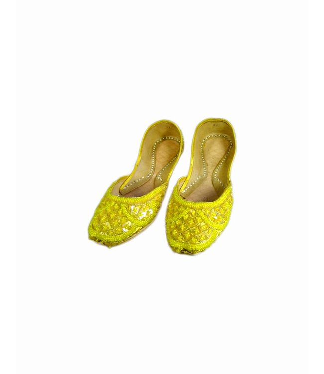 Orientalische, Indische Pailletten Ballerinas Schuhe aus Leder - Gelb